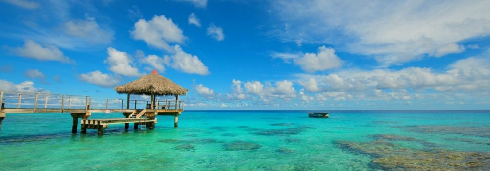Rangiroa French Polynesia Ocean Crystal Green Lagoon Sky Summer Beautiful Tropical Clouds Paradise Island Walkway Pontoon Beach HD Wallpaper Iphone 6